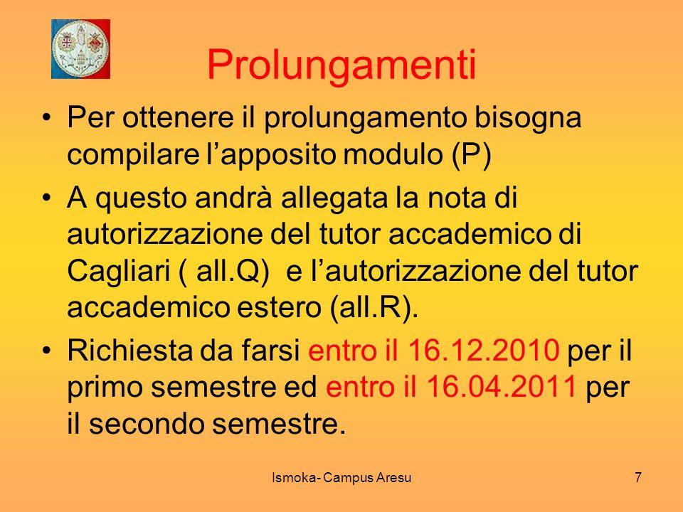 Prolungamenti Per ottenere il prolungamento bisogna compilare lapposito modulo (P) A questo andrà allegata la nota di autorizzazione del tutor accadem