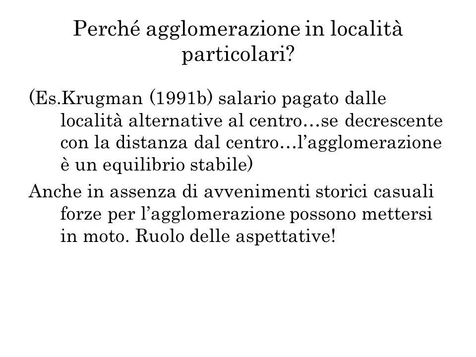 Perché agglomerazione in località particolari? (Es.Krugman (1991b) salario pagato dalle località alternative al centro…se decrescente con la distanza