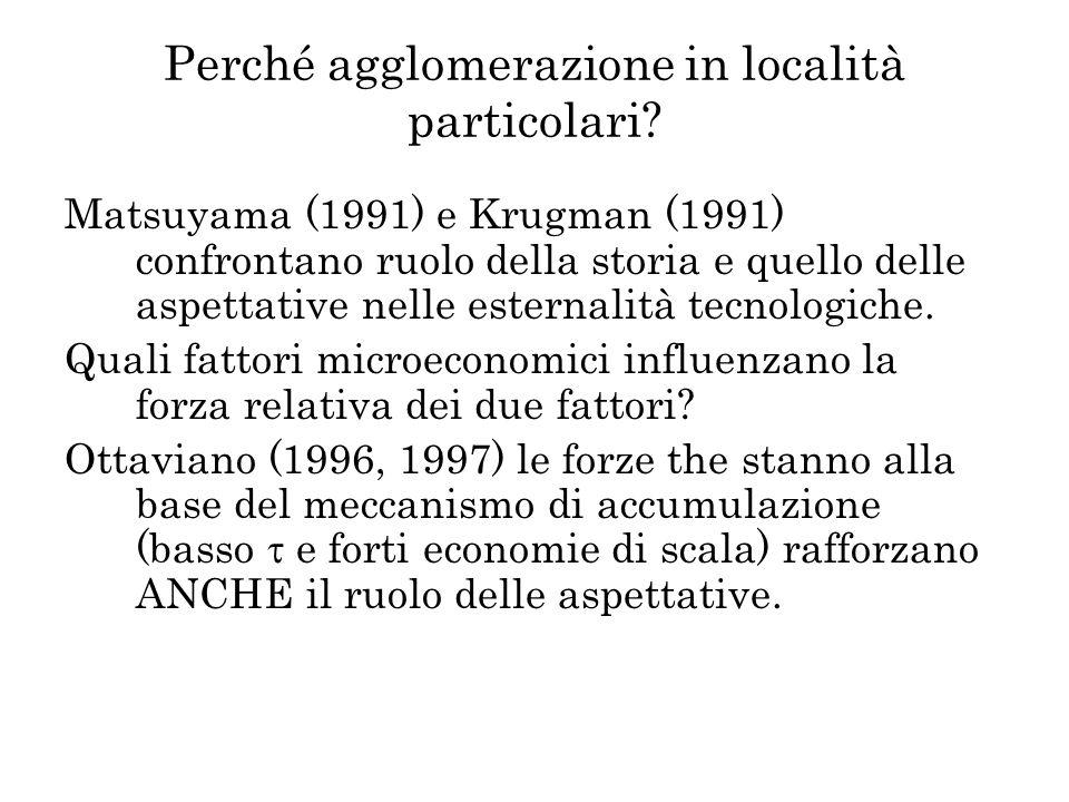 Perché agglomerazione in località particolari? Matsuyama (1991) e Krugman (1991) confrontano ruolo della storia e quello delle aspettative nelle ester