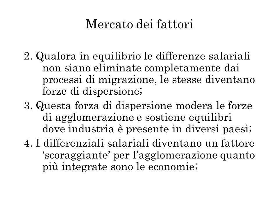 Mercato dei fattori 2. Qualora in equilibrio le differenze salariali non siano eliminate completamente dai processi di migrazione, le stesse diventano