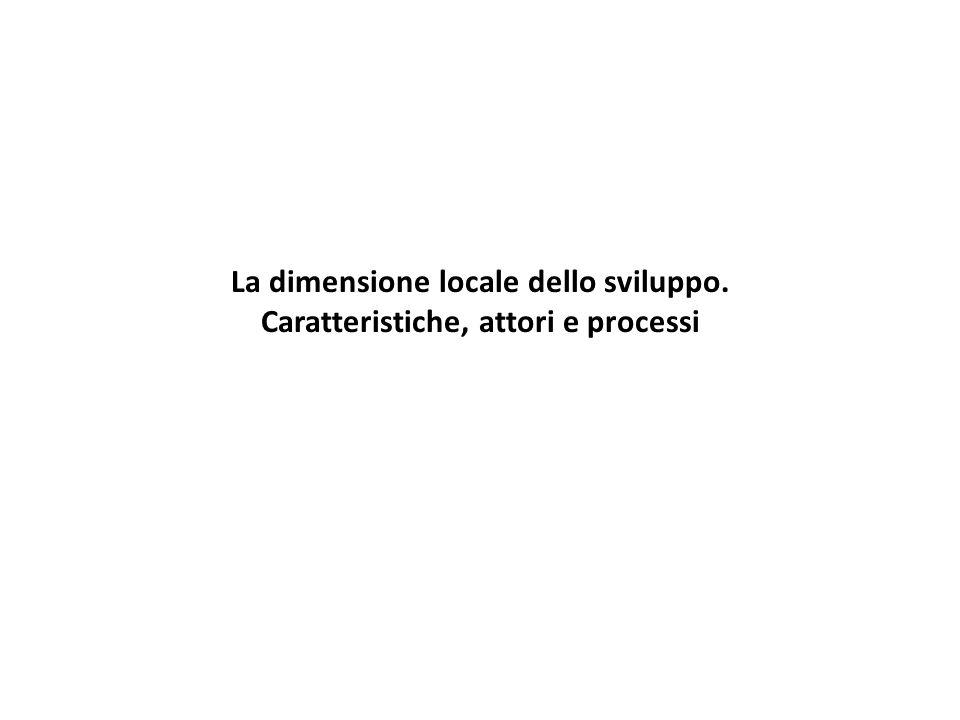 La dimensione locale dello sviluppo. Caratteristiche, attori e processi