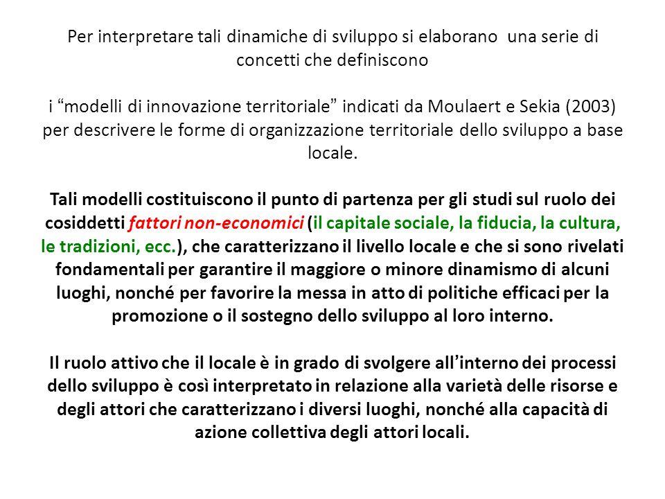 Per interpretare tali dinamiche di sviluppo si elaborano una serie di concetti che definiscono i modelli di innovazione territoriale indicati da Moula