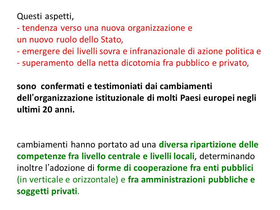 Questi aspetti, - tendenza verso una nuova organizzazione e un nuovo ruolo dello Stato, - emergere dei livelli sovra e infranazionale di azione politi