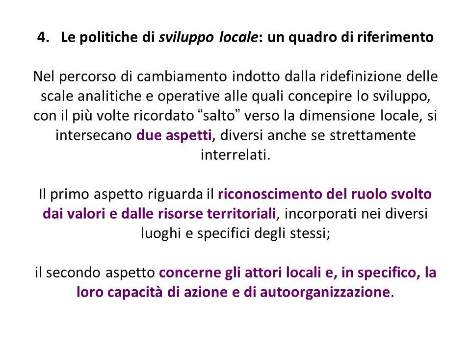 4.Le politiche di sviluppo locale: un quadro di riferimento Nel percorso di cambiamento indotto dalla ridefinizione delle scale analitiche e operative