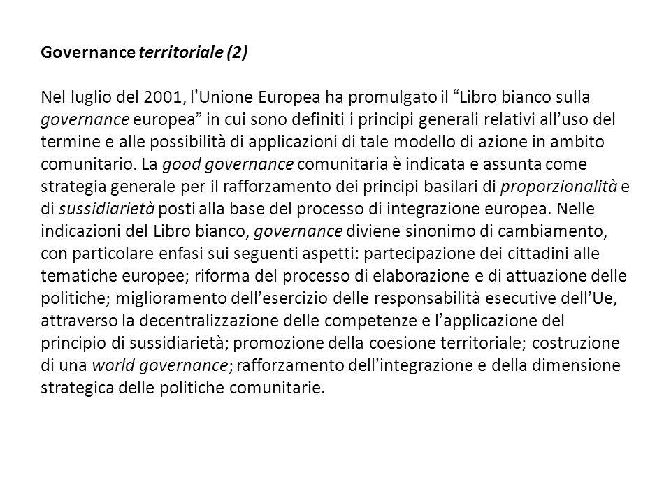 Governance territoriale (2) Nel luglio del 2001, lUnione Europea ha promulgato il Libro bianco sulla governance europea in cui sono definiti i princip
