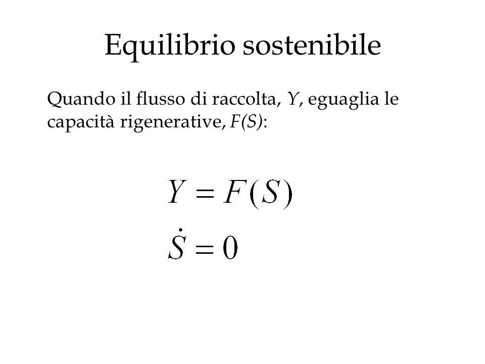 Equilibrio sostenibile Quando il flusso di raccolta, Y, eguaglia le capacità rigenerative, F(S) :