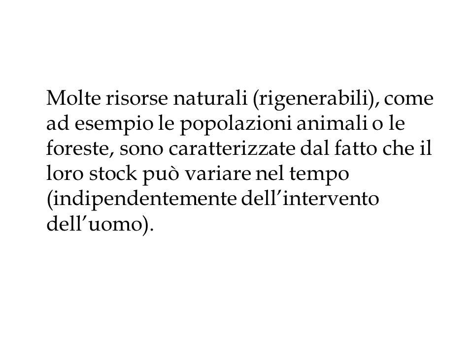 Molte risorse naturali (rigenerabili), come ad esempio le popolazioni animali o le foreste, sono caratterizzate dal fatto che il loro stock può variar