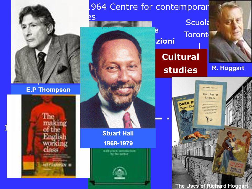 1900..1920 195019601970 Teoria ago ipodermico Scuola Toronto 1930 1940 Comunicazione a due stadi Usi e gratificazioni Cultural studies Birmingham 1964 Centre for contemporary cultural studies R.