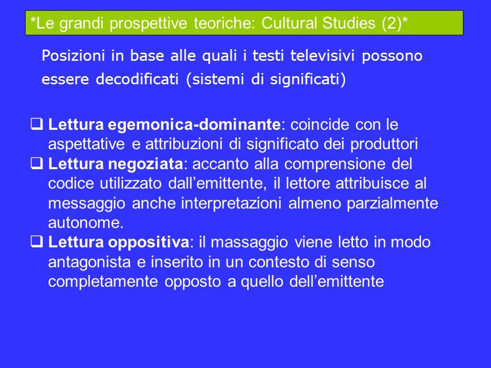 Lettura egemonica-dominante: coincide con le aspettative e attribuzioni di significato dei produttori Lettura negoziata: accanto alla comprensione del