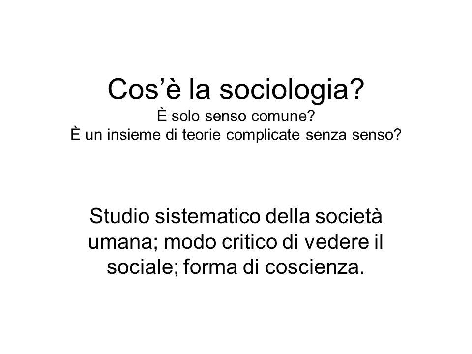Cosè la sociologia? È solo senso comune? È un insieme di teorie complicate senza senso? Studio sistematico della società umana; modo critico di vedere
