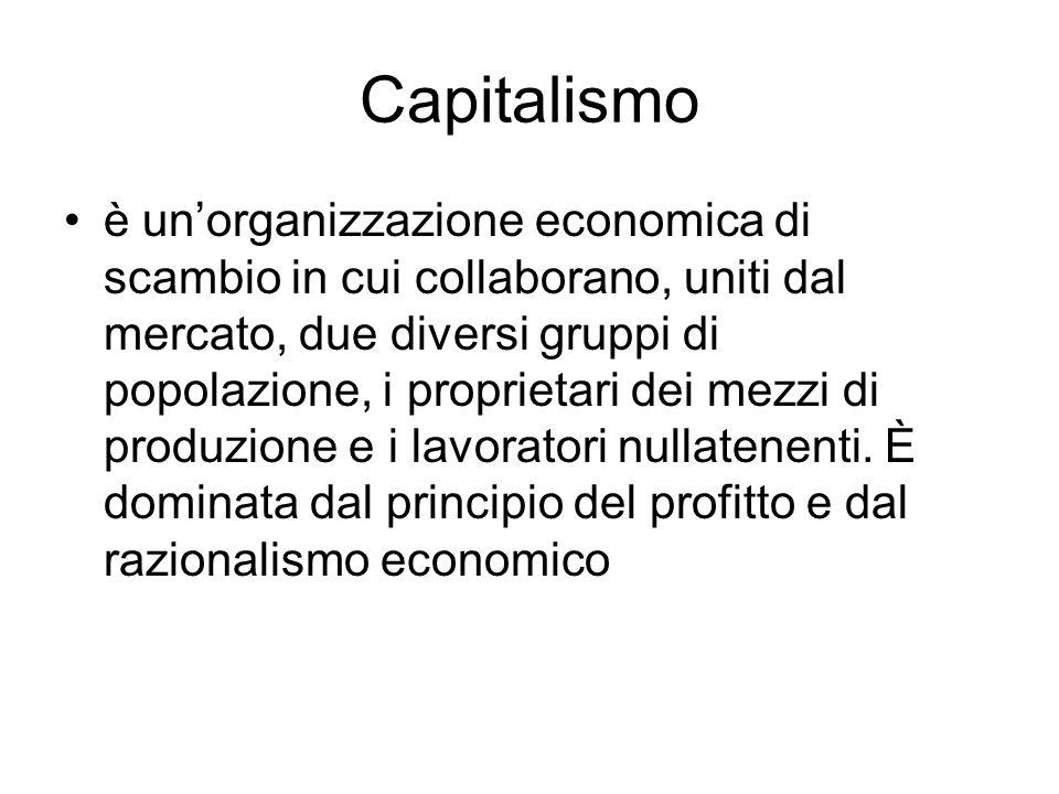 Capitalismo è unorganizzazione economica di scambio in cui collaborano, uniti dal mercato, due diversi gruppi di popolazione, i proprietari dei mezzi