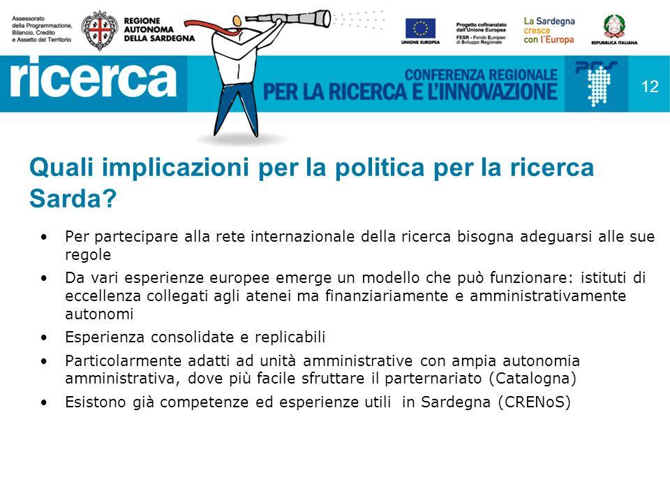 12 Quali implicazioni per la politica per la ricerca Sarda.