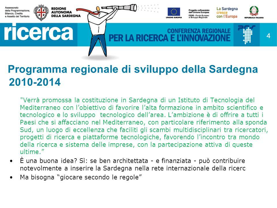 Programma regionale di sviluppo della Sardegna 2010-2014 Verrà promossa la costituzione in Sardegna di un Istituto di Tecnologia del Mediterraneo con lobiettivo di favorire lalta formazione in ambito scientifico e tecnologico e lo sviluppo tecnologico dellarea.