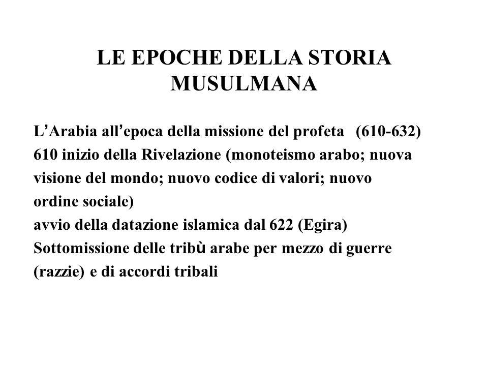 LE EPOCHE DELLA STORIA MUSULMANA L Arabia all epoca della missione del profeta (610-632) 610 inizio della Rivelazione (monoteismo arabo; nuova visione