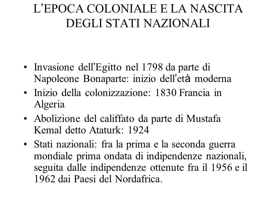 L EPOCA COLONIALE E LA NASCITA DEGLI STATI NAZIONALI Invasione dell Egitto nel 1798 da parte di Napoleone Bonaparte: inizio dell et à moderna Inizio d
