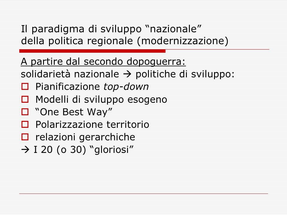 Il paradigma di sviluppo nazionale della politica regionale (modernizzazione) A partire dal secondo dopoguerra: solidarietà nazionale politiche di svi