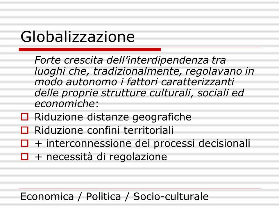 Globalizzazione Forte crescita dellinterdipendenza tra luoghi che, tradizionalmente, regolavano in modo autonomo i fattori caratterizzanti delle propr
