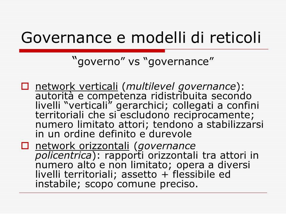 Governance e modelli di reticoli governo vs governance network verticali (multilevel governance): autorità e competenza ridistribuita secondo livelli