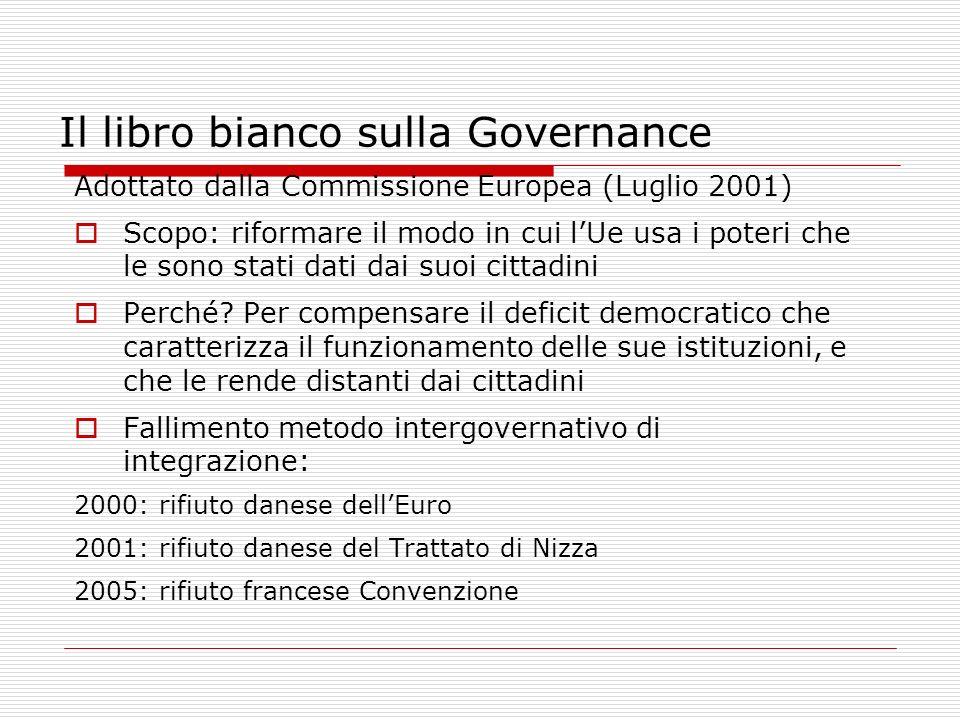 Il libro bianco sulla Governance Adottato dalla Commissione Europea (Luglio 2001) Scopo: riformare il modo in cui lUe usa i poteri che le sono stati d