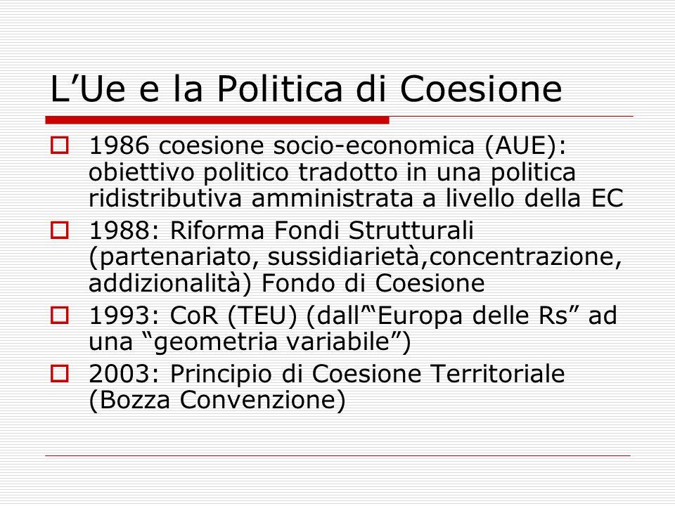 LUe e la Politica di Coesione 1986 coesione socio-economica (AUE): obiettivo politico tradotto in una politica ridistributiva amministrata a livello d
