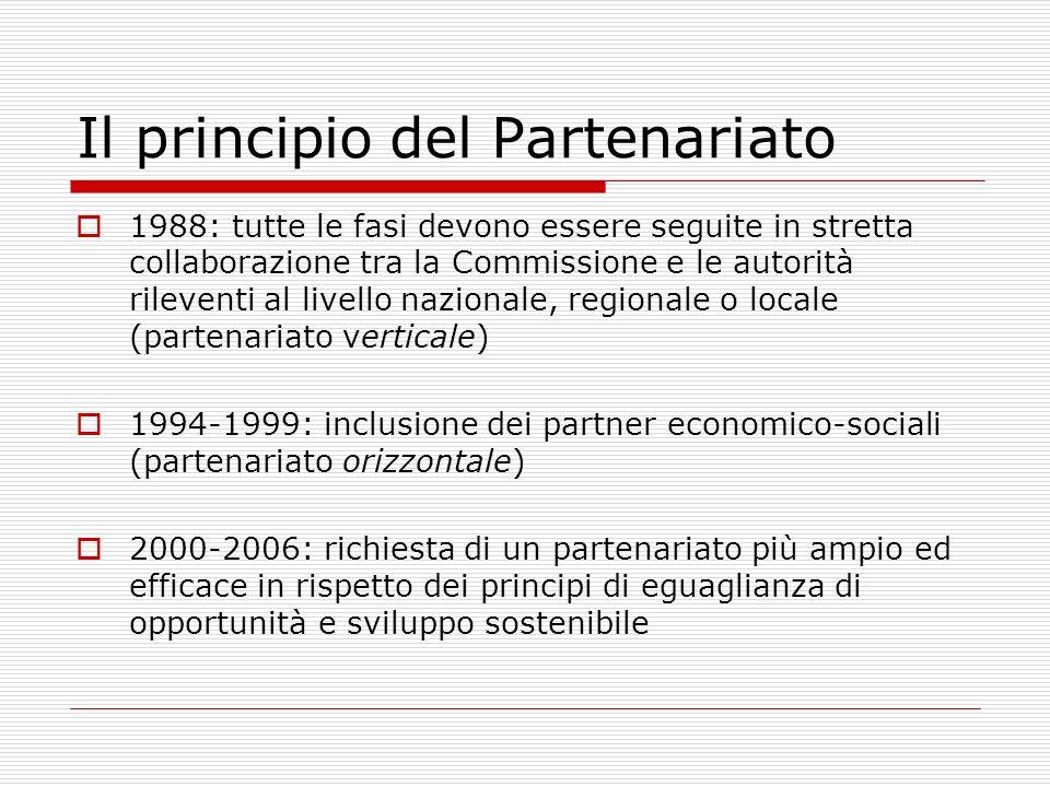 Il principio del Partenariato 1988: tutte le fasi devono essere seguite in stretta collaborazione tra la Commissione e le autorità rileventi al livell