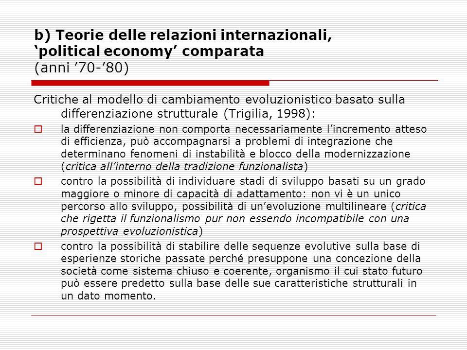 b) Teorie delle relazioni internazionali, political economy comparata (anni 70-80) Critiche al modello di cambiamento evoluzionistico basato sulla dif