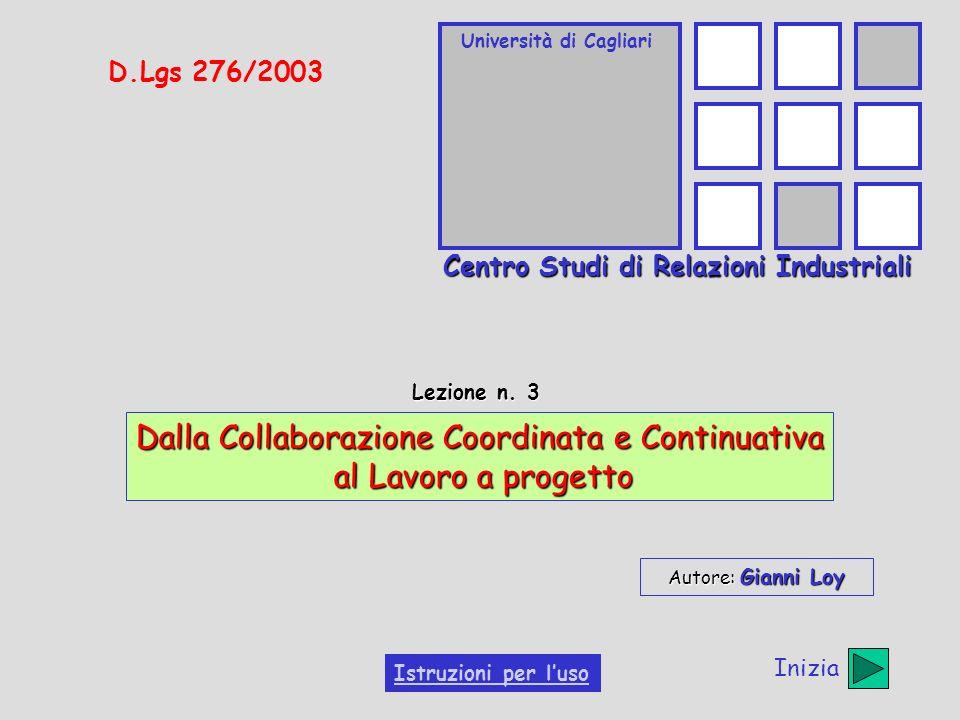 Università di Cagliari Centro Studi di Relazioni Industriali D.Lgs 276/2003 Lezione n. 3 Dalla Collaborazione Coordinata e Continuativa al Lavoro a pr