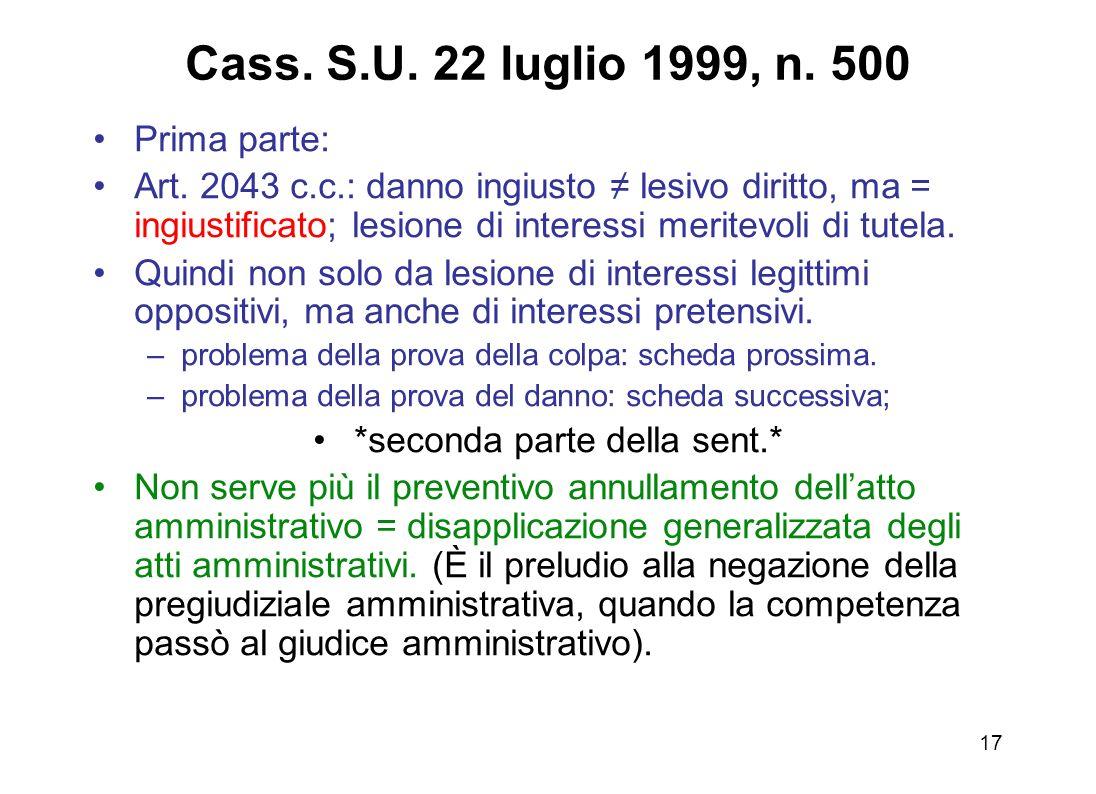 16 Ante Cass. Cass. S.U. 22 luglio 1999, n. 500 Negazione riparazione danni da lesione interessi legittimi pretensivi Necessità del previo annullament