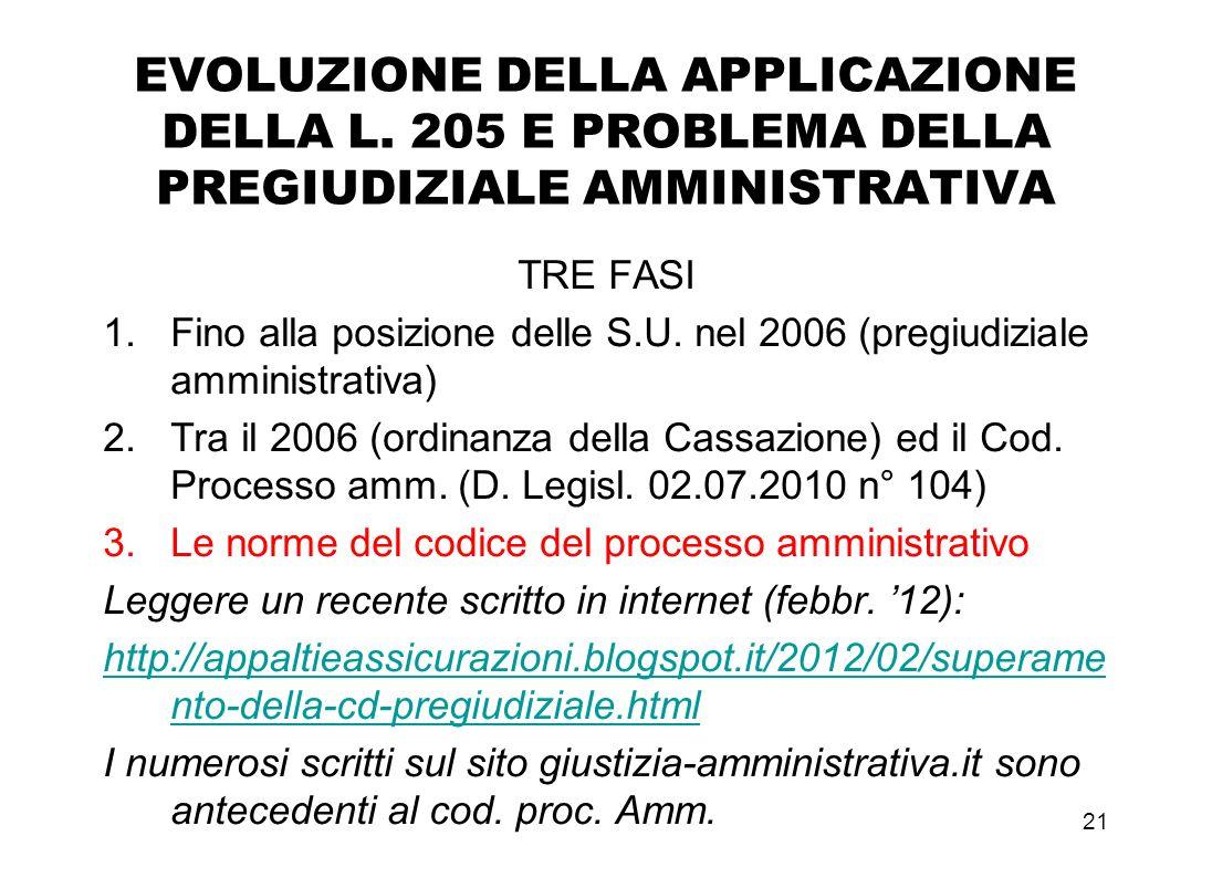 20 Legge 21 luglio 2000 n.205 Da ricordare come normativa intermedia tra sent. 500/1999 e codice processo amministrativo Art. 7, co. 3, b) l'articolo