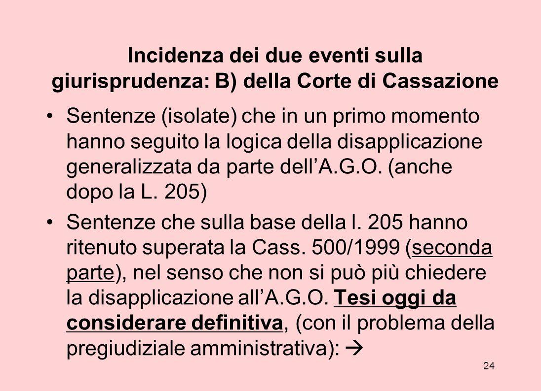 23 Incidenza dei due eventi (Cass.500 e l.205/2000) sulla giurisprudenza: A) del Consiglio di Stato; Accettazione del principio della risarcibilità de