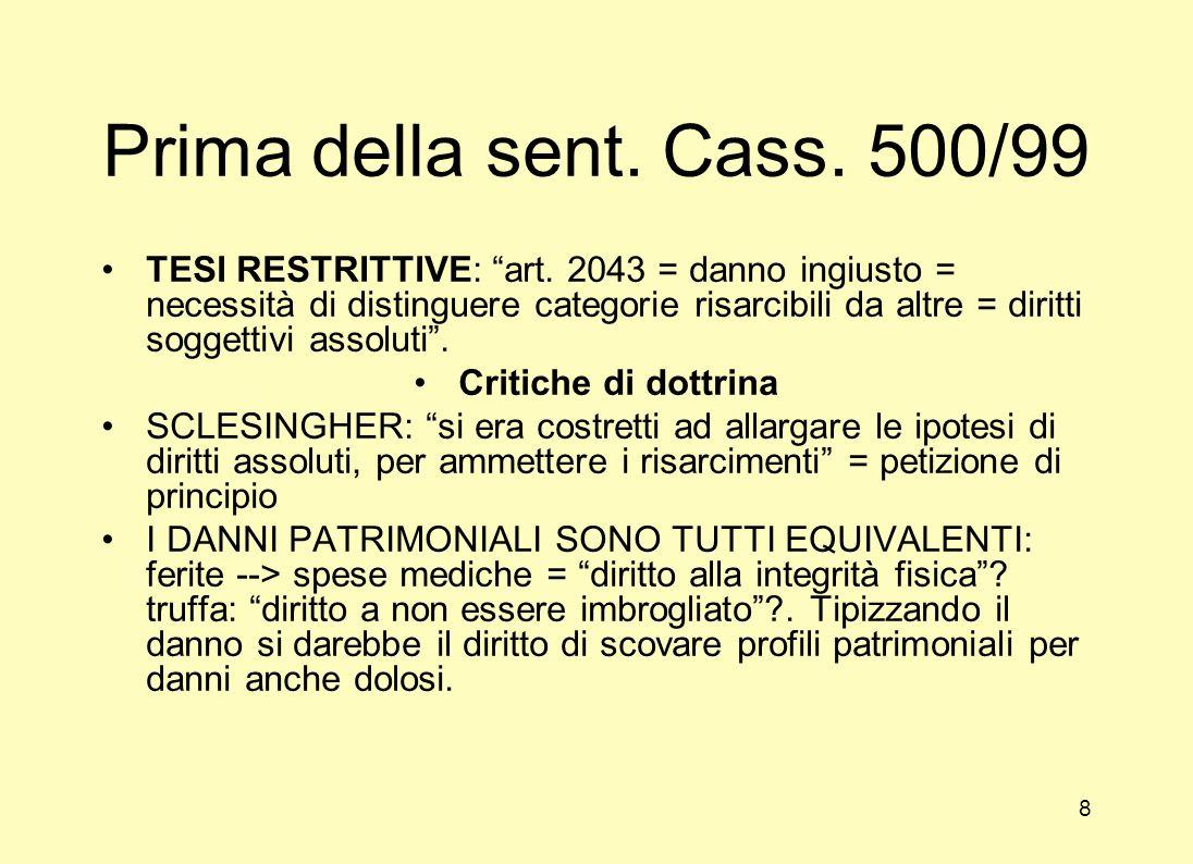 Prima della sent.Cass. 500/99 TESI RESTRITTIVE: art.