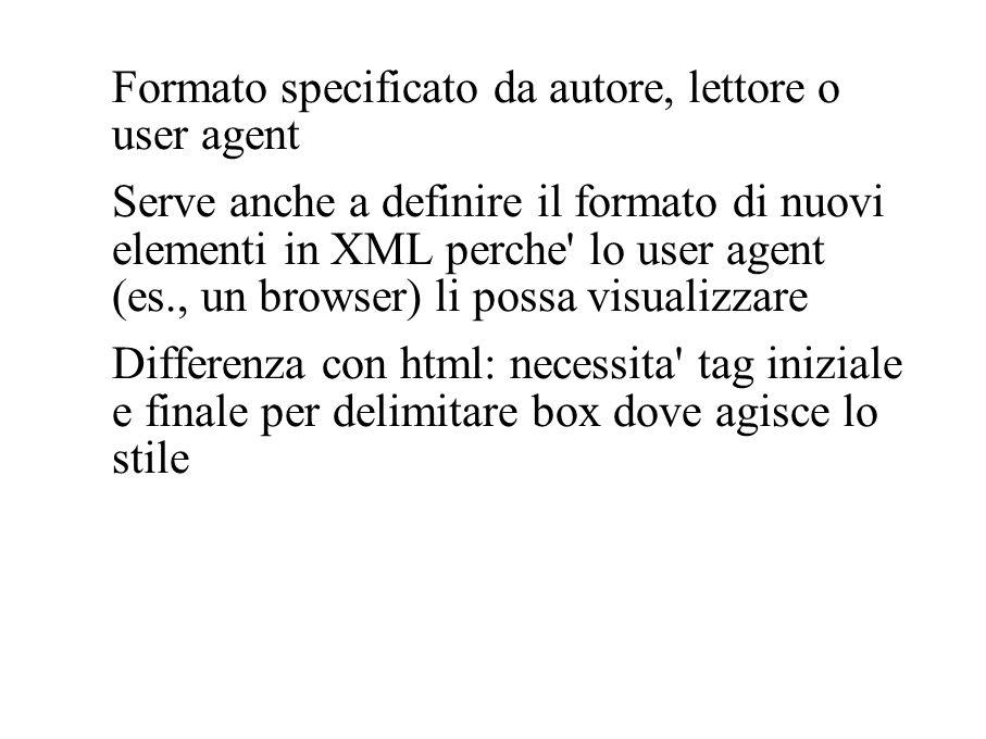 Formato specificato da autore, lettore o user agent Serve anche a definire il formato di nuovi elementi in XML perche' lo user agent (es., un browser)