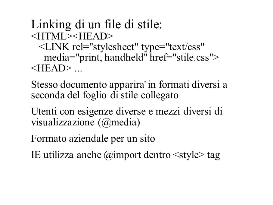 Linking di un file di stile:...