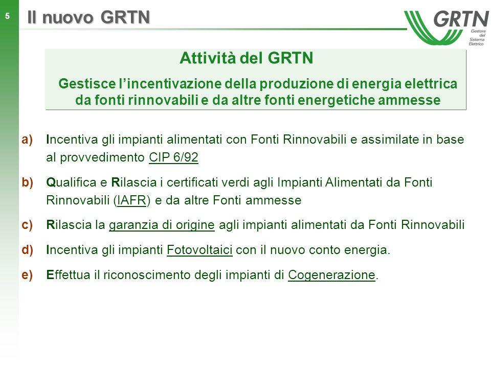 5 Attività del GRTN Il nuovo GRTN a)Incentiva gli impianti alimentati con Fonti Rinnovabili e assimilate in base al provvedimento CIP 6/92 b)Qualifica
