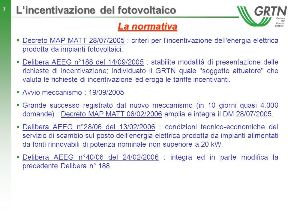 7 La normativa Decreto MAP MATT 28/07/2005 : criteri per l'incentivazione dell'energia elettrica prodotta da impianti fotovoltaici. Delibera AEEG n°18