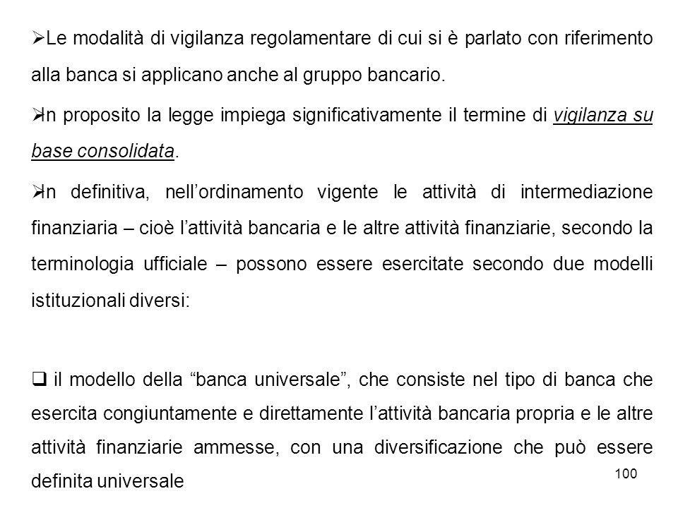 100 Le modalità di vigilanza regolamentare di cui si è parlato con riferimento alla banca si applicano anche al gruppo bancario. In proposito la legge