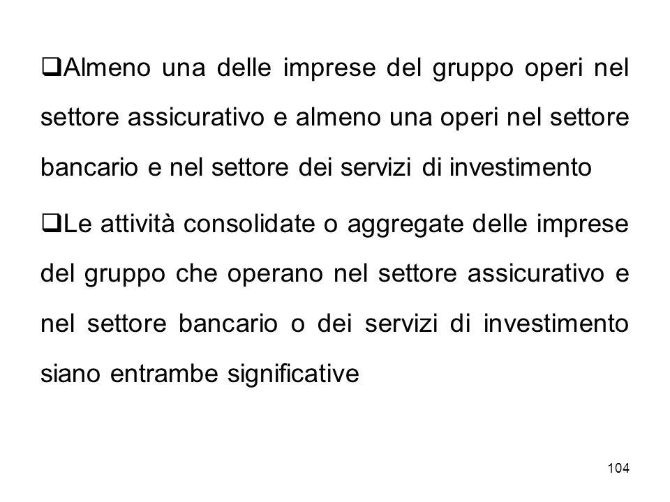 104 Almeno una delle imprese del gruppo operi nel settore assicurativo e almeno una operi nel settore bancario e nel settore dei servizi di investimen