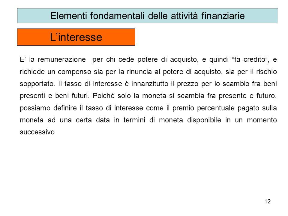 12 Linteresse Elementi fondamentali delle attività finanziarie E la remunerazione per chi cede potere di acquisto, e quindi fa credito, e richiede un