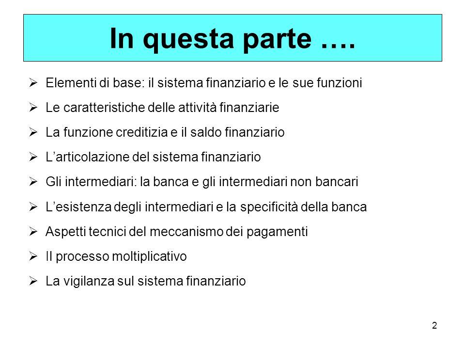 2 In questa parte …. Elementi di base: il sistema finanziario e le sue funzioni Le caratteristiche delle attività finanziarie La funzione creditizia e