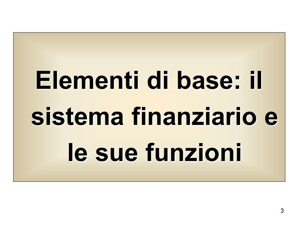 3 Elementi di base: il sistema finanziario e le sue funzioni