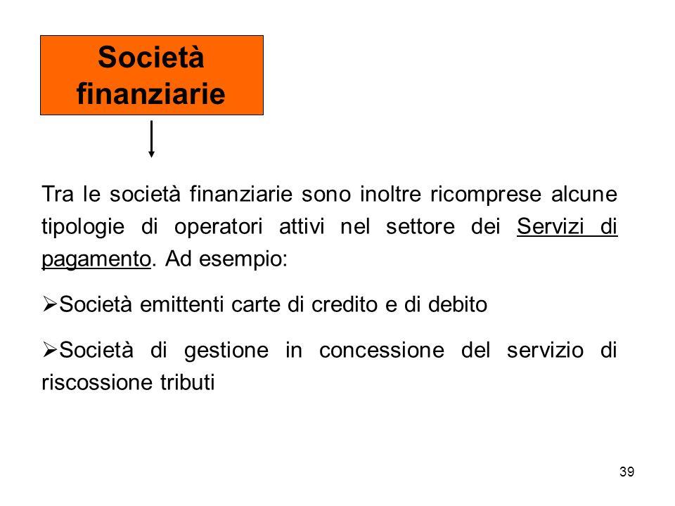 39 Tra le società finanziarie sono inoltre ricomprese alcune tipologie di operatori attivi nel settore dei Servizi di pagamento. Ad esempio: Società e