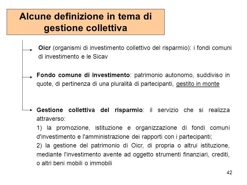 42 Alcune definizione in tema di gestione collettiva Oicr (organismi di investimento collettivo del risparmio): i fondi comuni di investimento e le Si