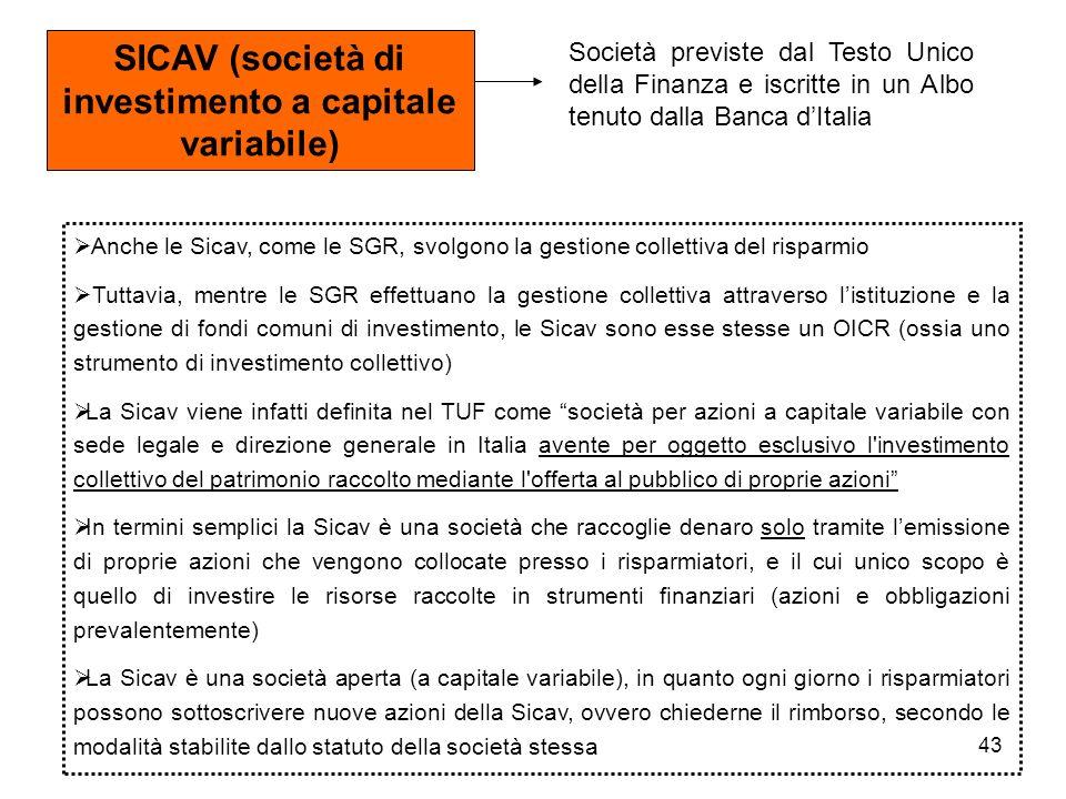 43 SICAV (società di investimento a capitale variabile) Società previste dal Testo Unico della Finanza e iscritte in un Albo tenuto dalla Banca dItali