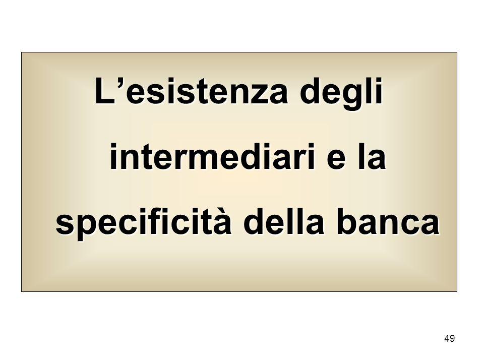 49 Lesistenza degli intermediari e la specificità della banca