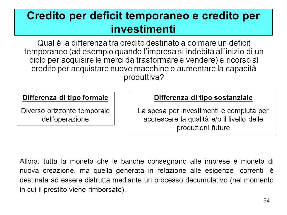 65 sistema in crescita Solo in un sistema in crescita (in cui ex-post S = I >0) avremo alla fine del processo di produzione un incremento netto della quantità di moneta sulla base del credito creato per finanziare gli investimenti.