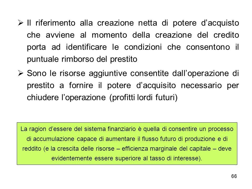 66 Il riferimento alla creazione netta di potere dacquisto che avviene al momento della creazione del credito porta ad identificare le condizioni che