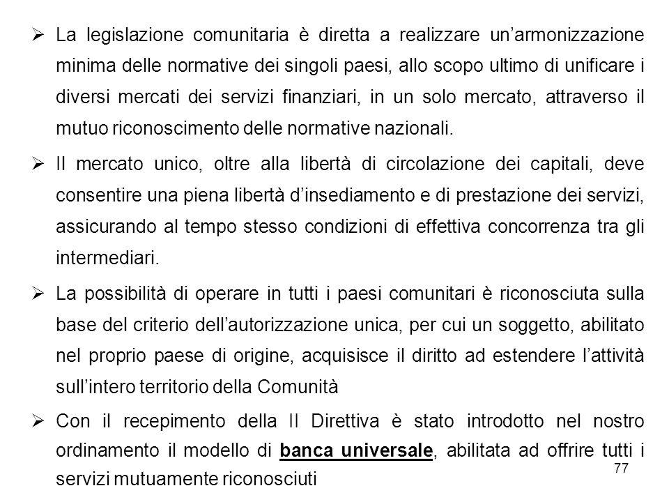 78 Gli effetti sul sistema bancario italiano del recepimento della II direttiva sono stati di estremo rilievo: in primo luogo, con lintroduzione del modello di banca universale, è venuta a cadere la distinzione introdotta con la precedente legge bancaria del 1936 tra aziende di credito, operanti sul breve termine, e istituti di credito speciale (ICS), abilitati ad operare a medio/lungo termine ( Da rilevare che lemissione di obbligazioni degli enti creditizi non è vincolata al rispetto dei limiti quantitativi fissati dal codice civile per le società per azioni)