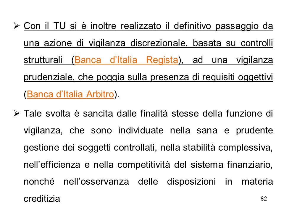 82 Con il TU si è inoltre realizzato il definitivo passaggio da una azione di vigilanza discrezionale, basata su controlli strutturali (Banca dItalia