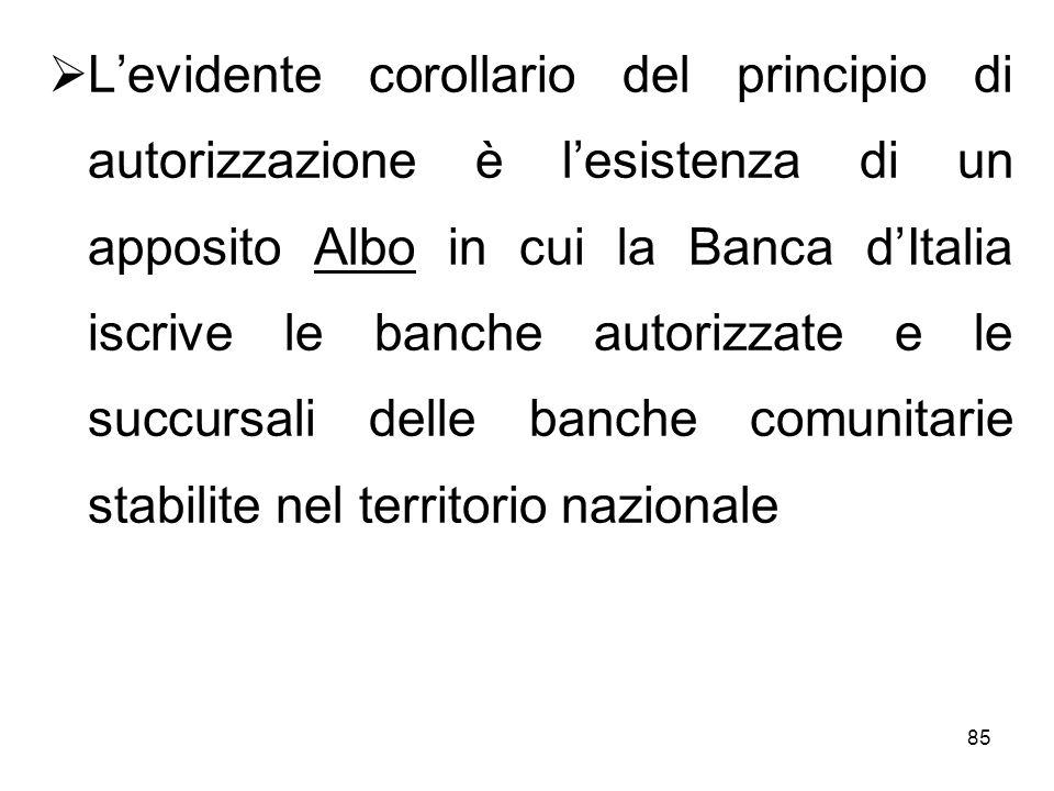 85 Levidente corollario del principio di autorizzazione è lesistenza di un apposito Albo in cui la Banca dItalia iscrive le banche autorizzate e le su