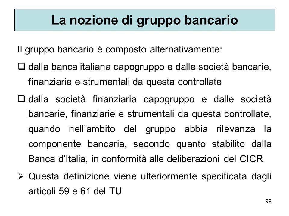 98 La nozione di gruppo bancario Il gruppo bancario è composto alternativamente: dalla banca italiana capogruppo e dalle società bancarie, finanziarie